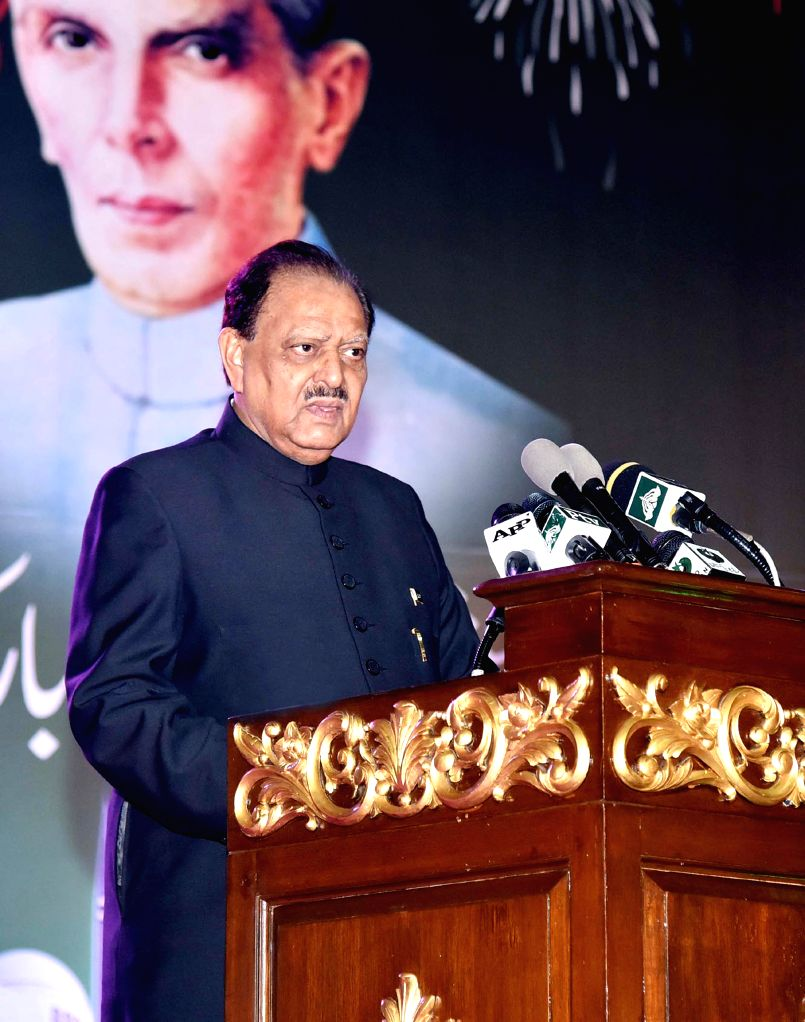ISLAMABAD, Aug. 14, 2016 - Photo released by Pakistan's Press Information Department (PID) on Aug. 14, 2016 shows Pakistani President Mamnoon Hussain speaks during a ceremony to mark the 70th ...