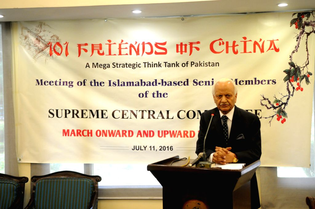 ISLAMABAD, July 11, 2016 - Editor-in-Chief of Pakistan's leading English daily Pakistan Observer, Zahid Malik, addresses a meeting of senior members of the core committee Pakistani think tank ... - Malik