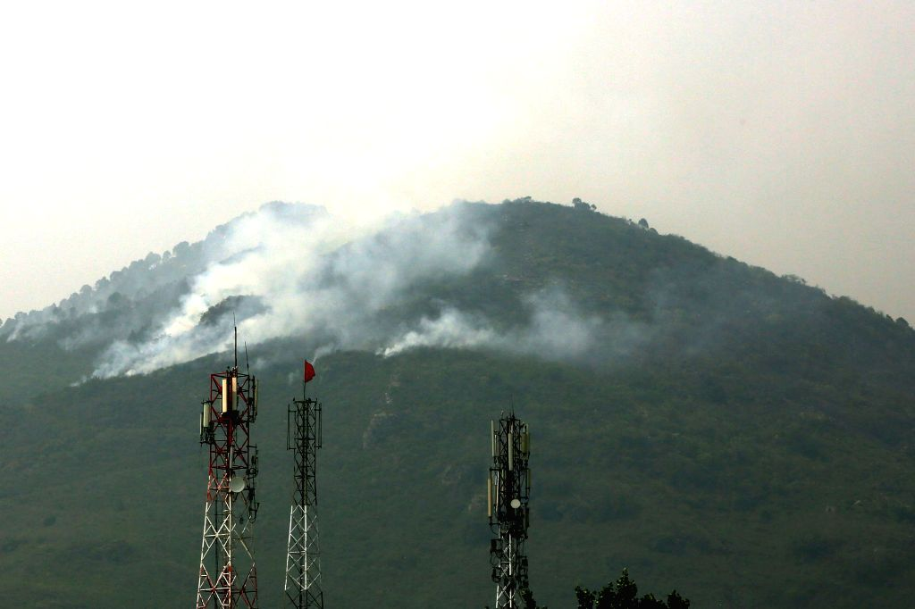 ISLAMABAD, June 1, 2018 - Smoke rises from the forest around the Margalla Hills in Islamabad, capital of Pakistan on June 1, 2018. Firefighters were unable to extinguish a fire that broke out in the ...