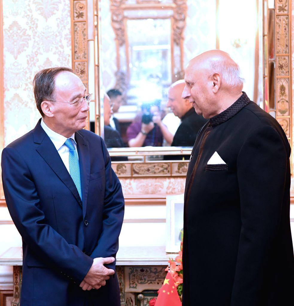 ISLAMABAD, May 28, 2019 - Chinese Vice President Wang Qishan (L) meets with Governor of the Punjab province Chaudhary Muhammad Sarwar, May 27, 2019. Wang Qishan visited Pakistan from Sunday to ... - Imran Khan