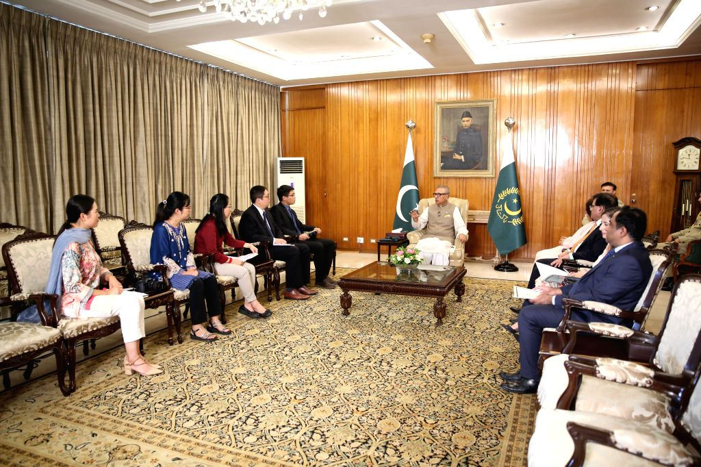 ISLAMABAD, Sept. 26, 2019 - Pakistani President Arif Alvi speaks in an interview with Chinese media in Islamabad, capital of Pakistan, Sept. 23, 2019. China's development regarding its economic ...
