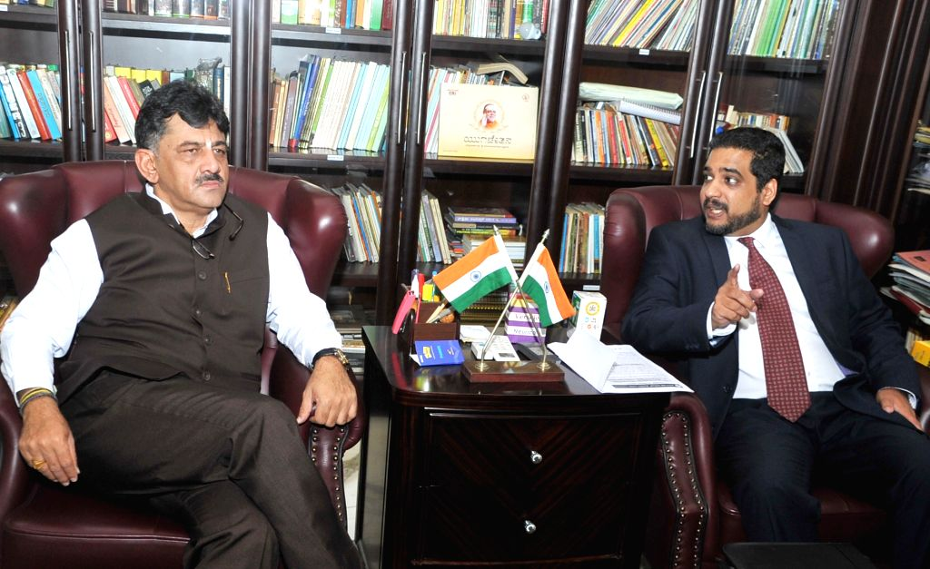 Israel Consul for Trade and Economic Affairs, Consulate General Dr Shai Moses meets Karnataka Energy Minister DK Shivakumar in Bengaluru on Oct 6, 2016. - D
