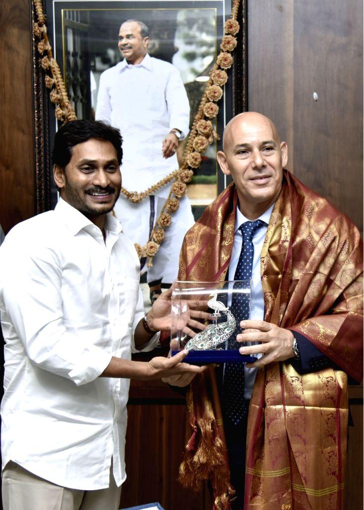 Israeli Ambassador to India Ron Malla meets Andhra Pradesh Chief Minister Y.S. Jagan Mohan Reddy, in Amaravathi on July 25, 2019. - Y.
