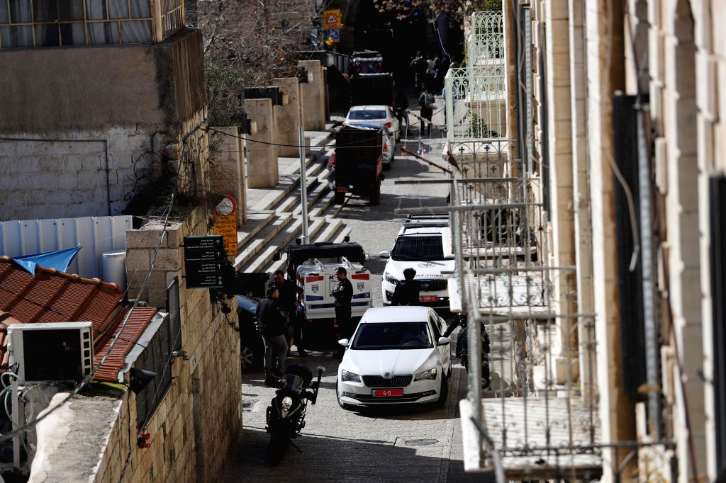 Israeli police officers secure the area following a suspected shooting attack in which an Israeli policeman was injured in Jerusalem's Old City on Feb. 6, 2020.