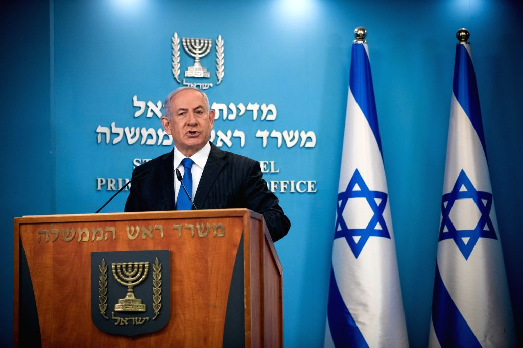 Israeli Prime Minister Benjamin Netanyahu delivers a speech at a press conference in Jerusalem, on Aug. 13, 2020. Israeli Prime Minister Benjamin Netanyahu said ... - Benjamin Netanyahu