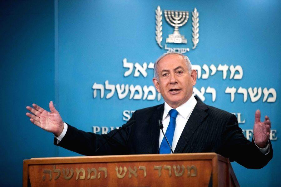 Israeli Prime Minister Benjamin Netanyahu delivers a speech at a press conference in Jerusalem, on Aug. 13, 2020. - Benjamin Netanyahu