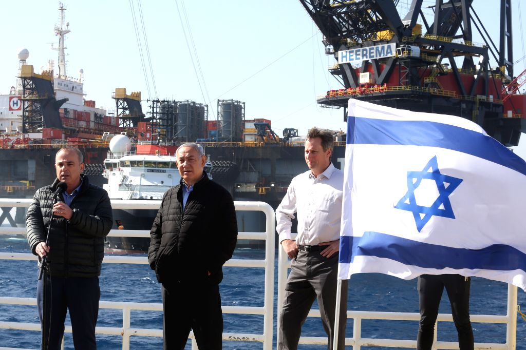 Israeli Prime Minister Benjamin Netanyahu (2nd L) visits the Leviathan gas platform of Noble Energy in the Mediterranean Sea, some 10 kilometers off ... - Benjamin Netanyahu