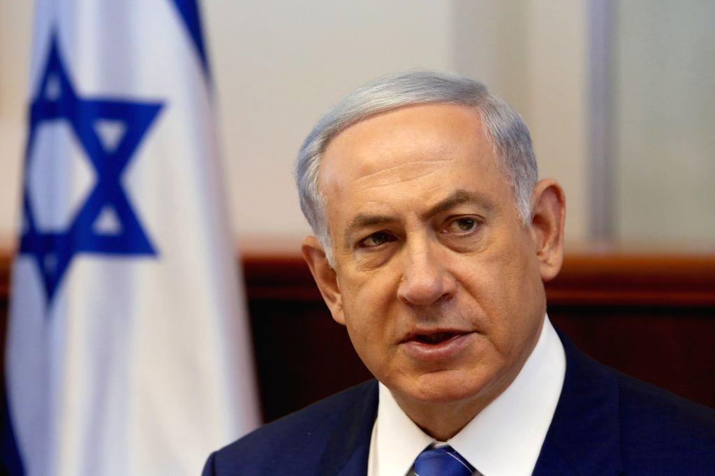 Israeli Prime Minister Benjamin Netanyahu addresses the weekly cabinet meeting at the Prime Minister's office in Jerusalem, on Aug. 2, 2015. The Israeli security ... - Benjamin Netanyahu