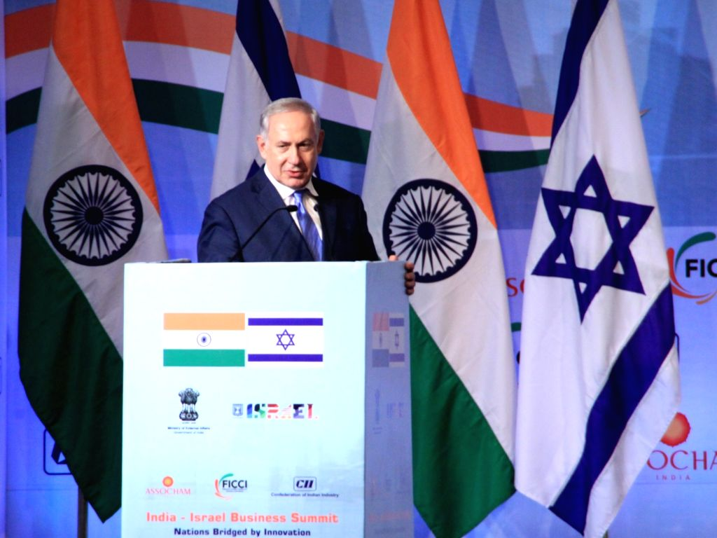 Israeli Prime Minister Benjamin Netanyahu addresses during India Israel Business Summit in New Delhi, on Jan 15, 2018. - Benjamin Netanyahu