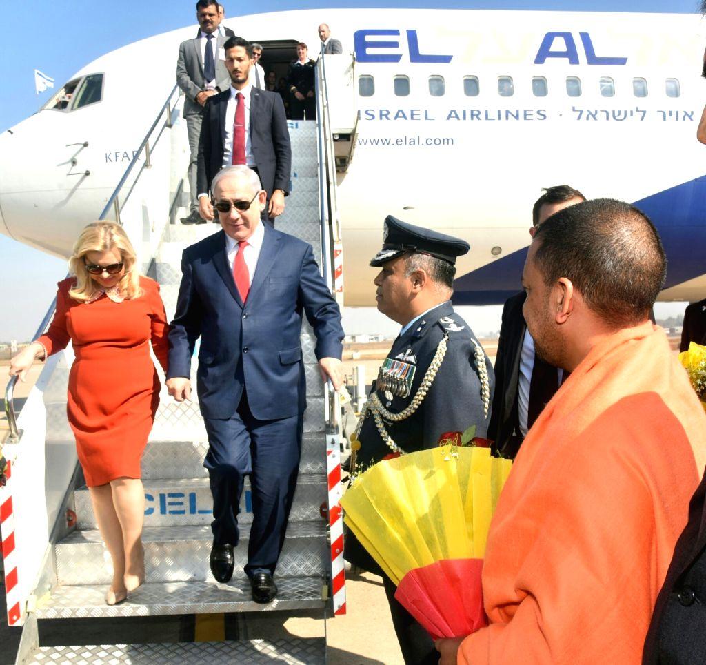 Israeli Prime Minister Benjamin Netanyahu and his wife Sara Netanyahu arrive in Agra on Jan 16, 2018. - Benjamin Netanyahu