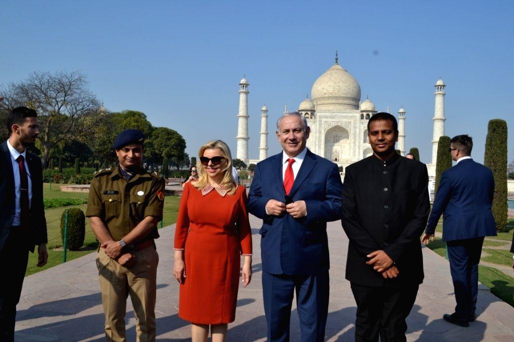 Israeli Prime Minister Benjamin Netanyahu and his wife Sara during their visit to the Taj Mahal on his arrival in Agra on Jan 16, 2018. - Benjamin Netanyahu