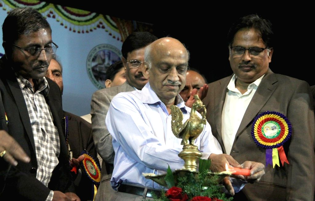 ISRO chairman A. S. Kiran Kumar being felicitated  Engineers' Day celebrations in Bengaluru, on Sept 15, 2016.