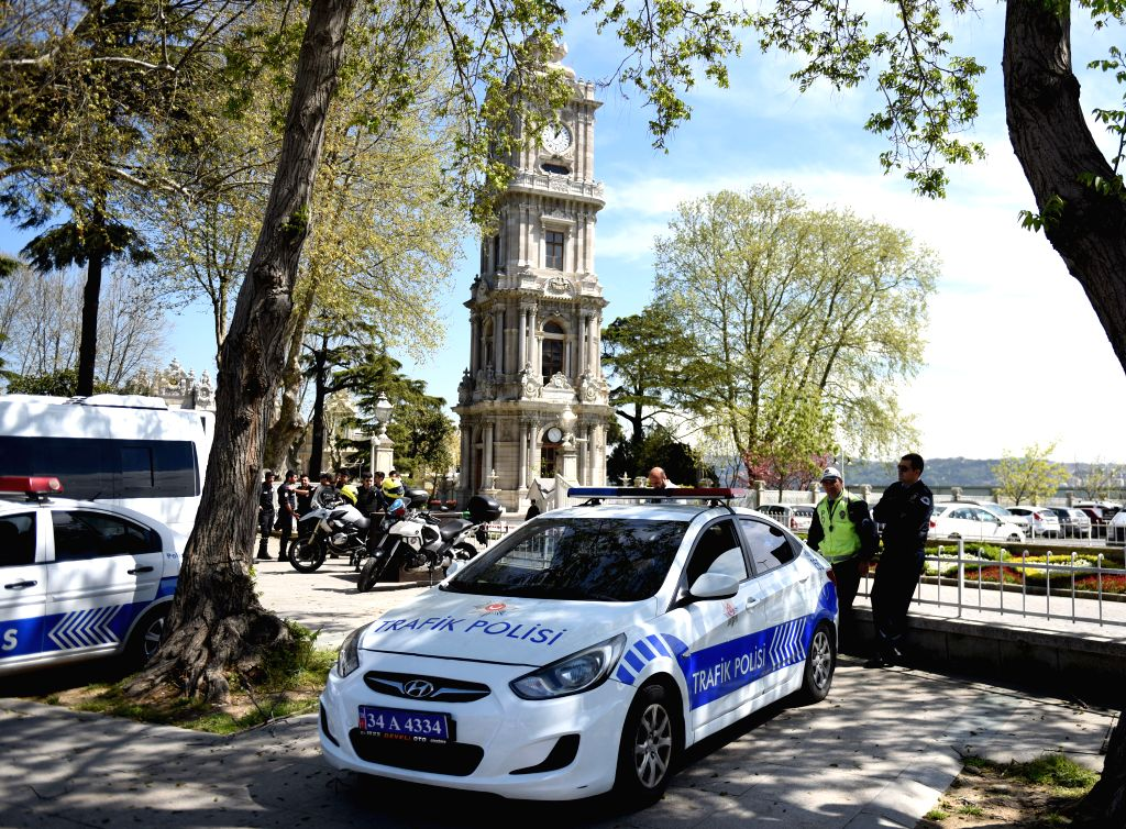 ISTANBUL, April 11, 2016 - Turkish Police watch on duty around Dolmabahce Palace in Istanbul, Turkey, on April 11, 2016. The 13th Organization of Islamic Cooperation (OIC) Summit is scheduled to be ...
