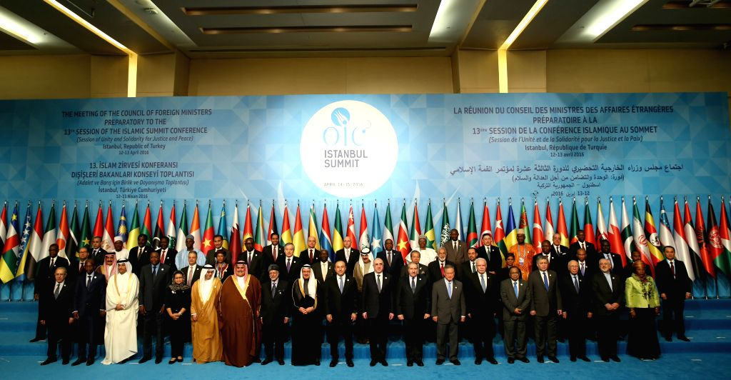ISTANBUL, April 12, 2016 - Foreign Ministers pose for a family photo during the meeting of foreign ministers of the Organization of Islamic Cooperation (OIC) in Istanbul, Turkey, on April 12, 2016. ...