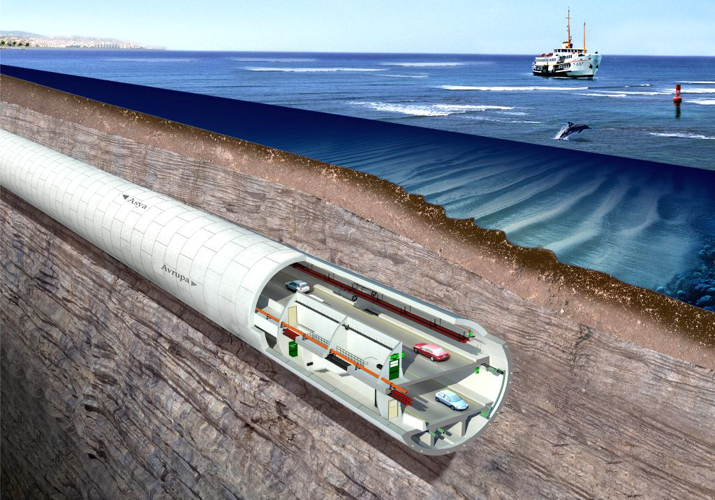 The schematic diagram of the Eurasia sub-sea tunnel project is shown in Istanbul on April 19, 2014. The Eurasia sub-sea tunnel project groundbreaking ceremony was