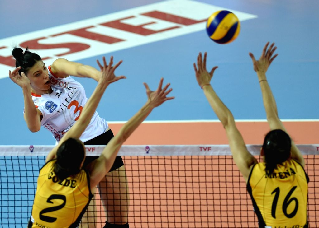 ISTANBUL, April 30, 2017 - Eczacibasi player Tijana Boskovic (L) spikes the ball during the third-place-final between Vakifbank and Eczacibasi at the 2016-2017 Turkish Women Volleyball League Playoff ...