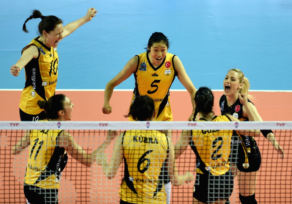 ISTANBUL, April 30, 2017 - Vakifbank players celebrate after scoring during the third-place-final between Vakifbank and Eczacibasi at the 2016-2017 Turkish Women Volleyball League Playoff match in ...
