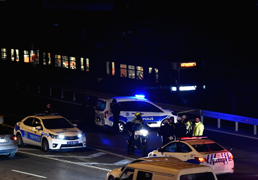 Police maintain order near the explosion site near a metro station in Bayrampasa district of Istanbul, Turkey, on Dec. 1, 2015. One person was killed and another ...