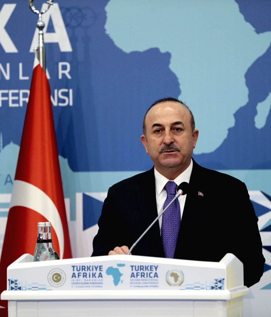 ISTANBUL, Feb. 12, 2018 - Turkish Foreign Minister Mevlut Cavusoglu speaks at a press conference following the Turkey-Africa Second Ministerial Review Conference in Istanbul, Turkey, on Feb. 12, ... - Mevlut Cavusoglu