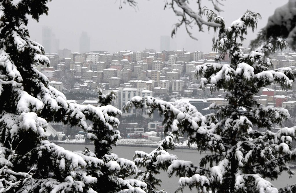 ISTANBUL, Feb. 24, 2019 - Photo taken on Feb. 24, 2019 shows the snow-covered Istanbul, Turkey. A snowfall hit Istanbul on Sunday.