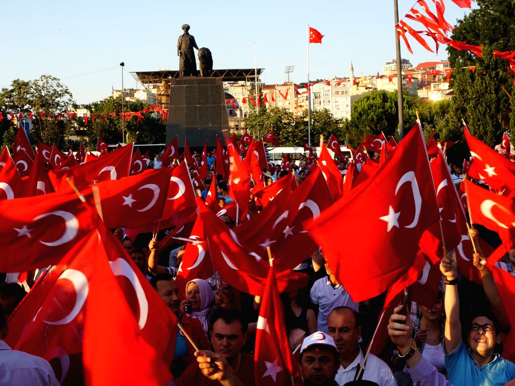 ISTANBUL, July 17, 2016 - People gather to protest the coup attempt in Istanbul, Turkey, July 16, 2016. At least 161 people were killed and 1,440 others wounded in the coup attempt, Turkey's Prime ... - Binali Yildirim