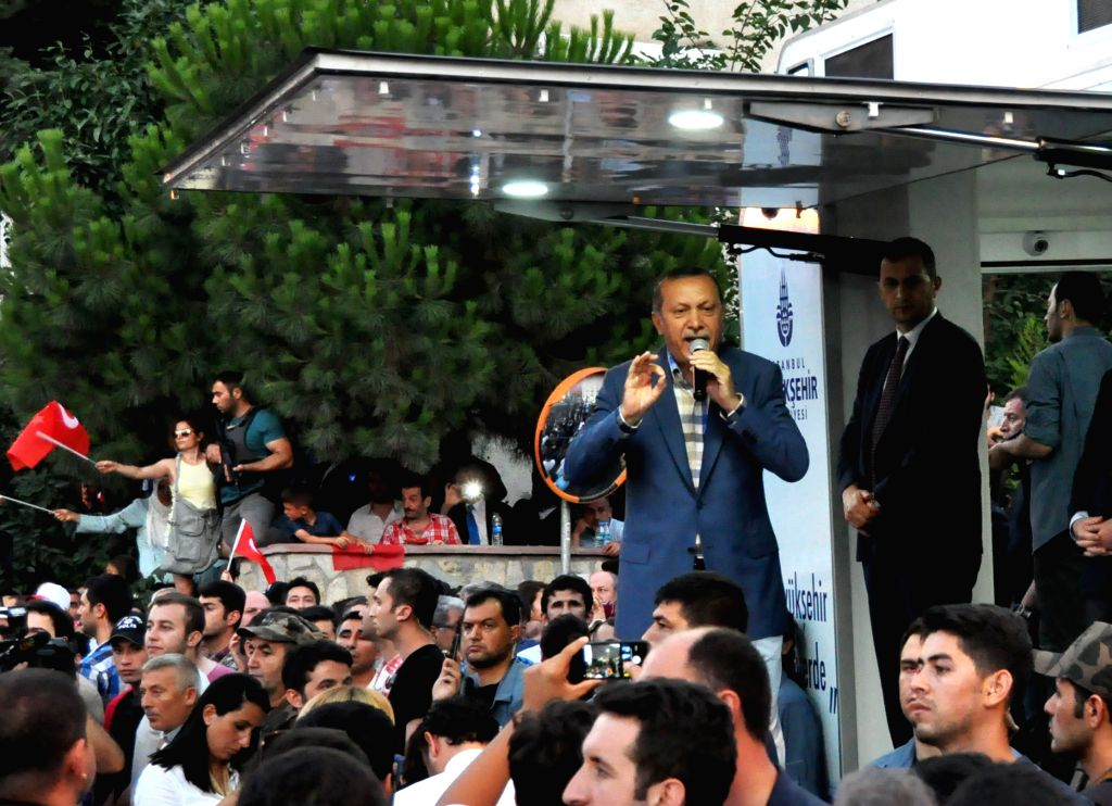 ISTANBUL, July 17, 2016 - Turkish President Recep Tayyip Erdogan delivers a speech to people in Istanbul July 16, 2016. Recep Tayyip Erdogan on Saturday reiterated a call on the United States to hand ...