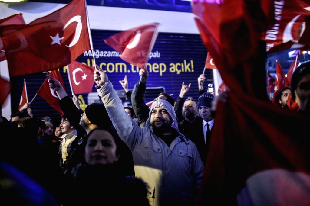 ISTANBUL, March 12, 2017 - People hold a rally in front of the Dutch Consulate in Istanbul, Turkey, on March 12, 2017. People holding Turkish national flags were gathering in front of Dutch Consulate ...