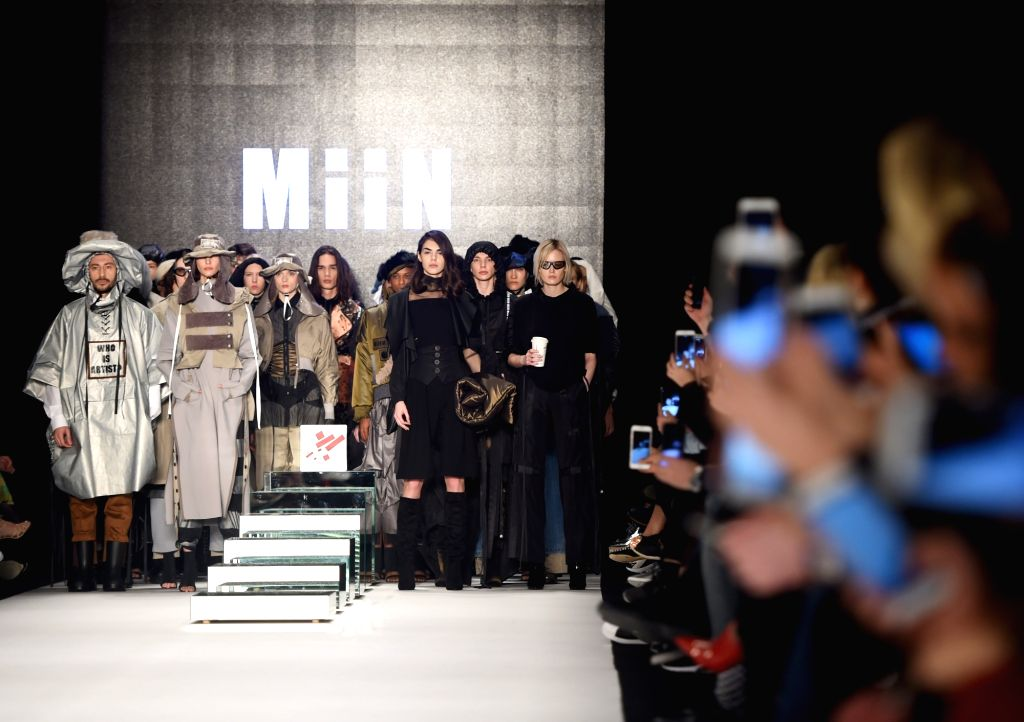 ISTANBUL, March 28, 2018 - Models present creations of MiiN by Kadir Kilic during the Mercedes-Benz Fashion Week Istanbul in Istanbul, Turkey, on March 28, 2018. Dozens of models on Wednesday ...