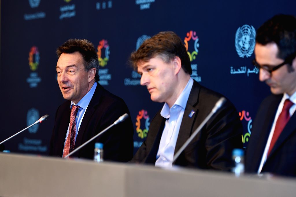 ISTANBUL, May 24, 2016 - Peter Maurer (L), president of the International Committee of the Red Cross, speaks at a press briefing during the World Humanitarian Summit in Istanbul, Turkey, on May 24, ...