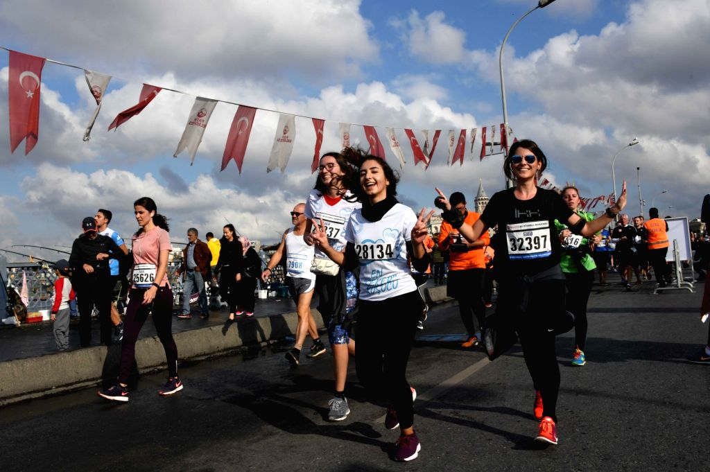 ISTANBUL, Nov. 11, 2018 - Participants take part in the 40th Istanbul Marathon, which attract a record-breaking 130,000 runners in Istanbul, Turkey, Nov. 11, 2018.