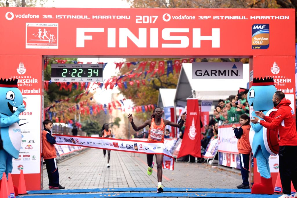 ISTANBUL, Nov. 12, 2017 (Xinhua) -- Ruth Chepngetich of Kenya crosses the finishing line during Istanbul Marathon in Turkey's largest city on Nov. 12, 2017. The 39th Istanbul Marathon was held here on Sunday with the participation of 125000 people fr