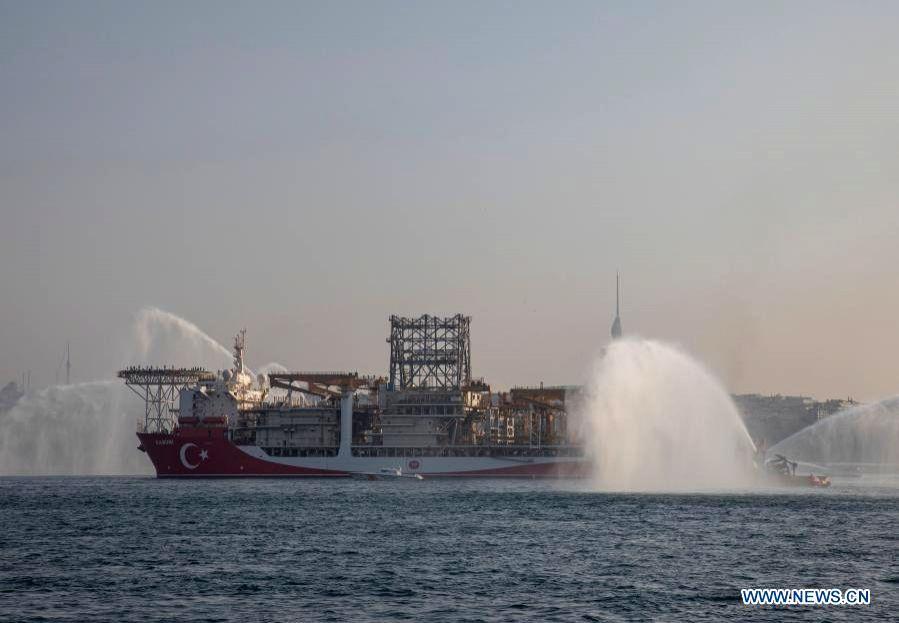 Istanbul, Nov. 14  Turkey's drillship Kanuni sails on the Bosphorus Strait in Istanbul, Turkey, on Nov. 13, 2020. Kanuni sailed from Istanbul on Friday to the Black Sea to start its first ... - Fatih Donmez
