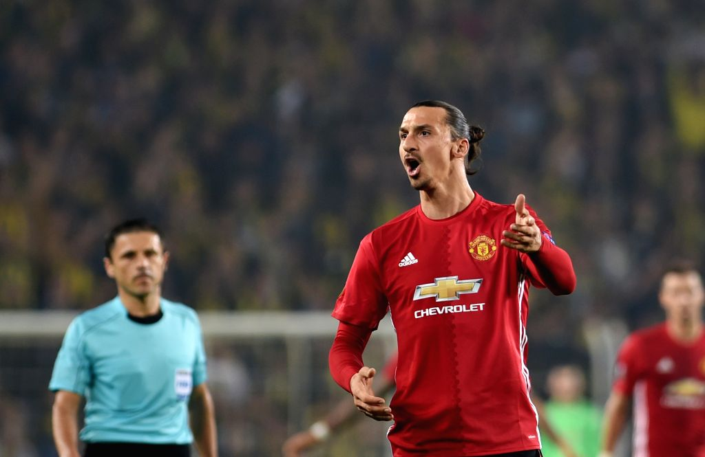ISTANBUL, Nov. 4, 2016 (Xinhua) -- Manchester United player Zlatan Ibrahimovic reacts during the UEFA Europa League Group A match between Fenerbahce and Manchester United in Istanbul, Turkey, Nov. 3, 2016. Fenerbahce won 2-1. (Xinhua/He Canling/IANS)