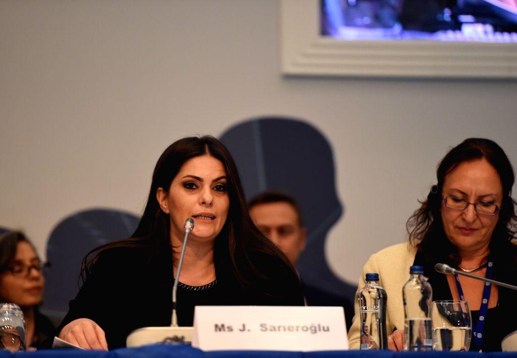 ISTANBUL, Oct. 2, 2017 - Julide Sarieroglu (L), Turkey's Labor and Social Security Minister, addresses the 10th European Regional Meeting of the International Labor Organization in Istanbul, Turkey, ...