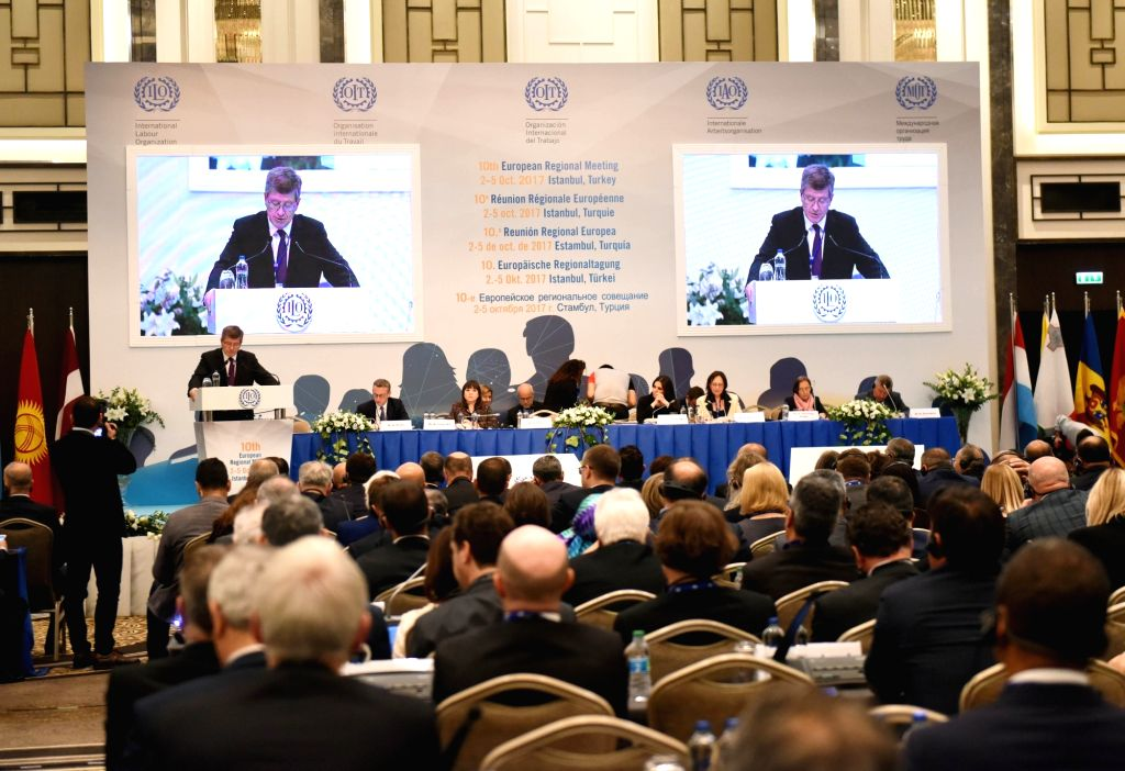 ISTANBUL, Oct. 2, 2017 - Photo taken on Oct. 2, 2017 shows the general view of the 10th European Regional Meeting of the International Labor Organization in Istanbul, Turkey. The 10th European ...