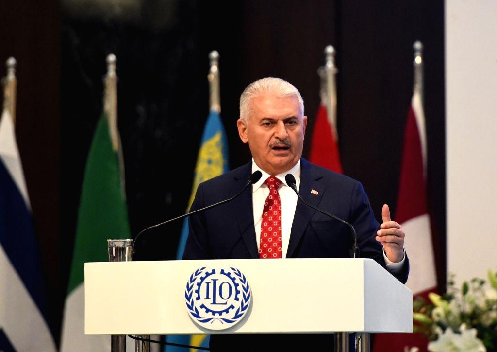 ISTANBUL, Oct. 2, 2017 - Turkish Prime Minister Binali Yildirim addresses the 10th European Regional Meeting of the International Labor Organization in Istanbul, Turkey, on Oct. 2, 2017. The 10th ... - Binali Yildirim