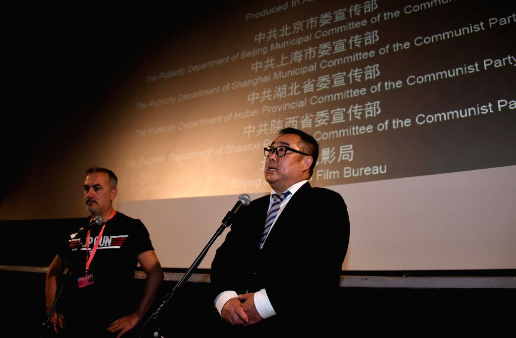 ISTANBUL, Oct. 24, 2019 - Shen Jian (R), film producer of The Composer and president of Chinese movie-making company Shinework Pictures, interacts with the audience after the film premiere in ...
