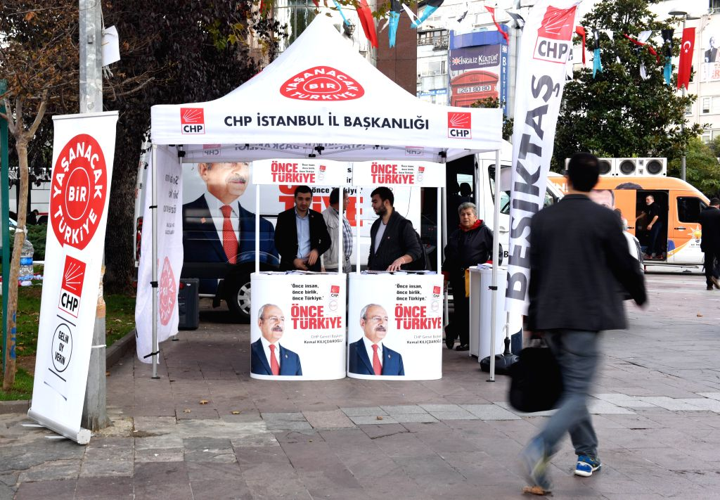 A man walks past the advertising point of Republican People's Party (CHP) in Istanbul, Turkey, on Oct. 27, 2015. Contrary to what Turkish President Recep Tayyip ...