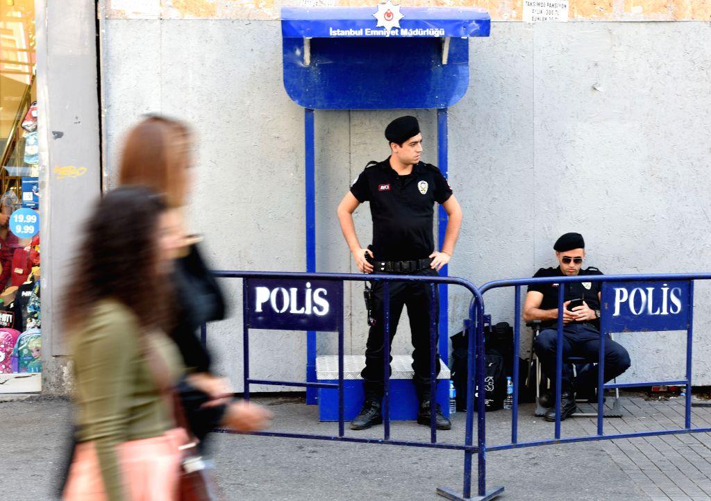 ISTANBUL, Oct. 4, 2016 - Policemen keep guard at Istiklal street in Istanbul, Turkey, Oct. 4, 2016. Deputy Prime Minister Numan Kurtulmus said Monday that Turkey's emergency rule will be extended by ... - Numan Kurtulmus