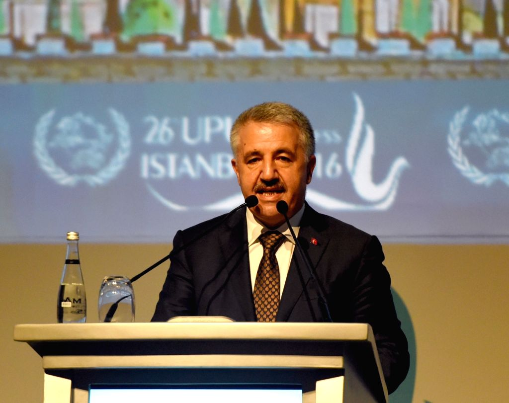 ISTANBUL, Oct. 4, 2016 - Turkey's minister of transport, maritime and communication Ahmet Arslan delivers a speech at the ministerial meeting of the 26th Universal Postal Congress in Istanbul, ...