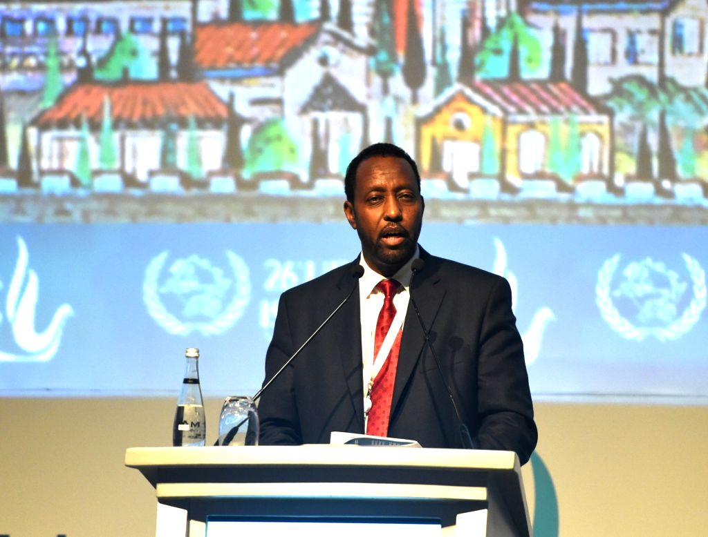 ISTANBUL, Oct. 4, 2016 - Universal Postal Union (UPU)'s Director General Bishar Hussein delivers a speech at the ministerial meeting of the 26th Universal Postal Congress in Istanbul, Turkey, on Oct. ...