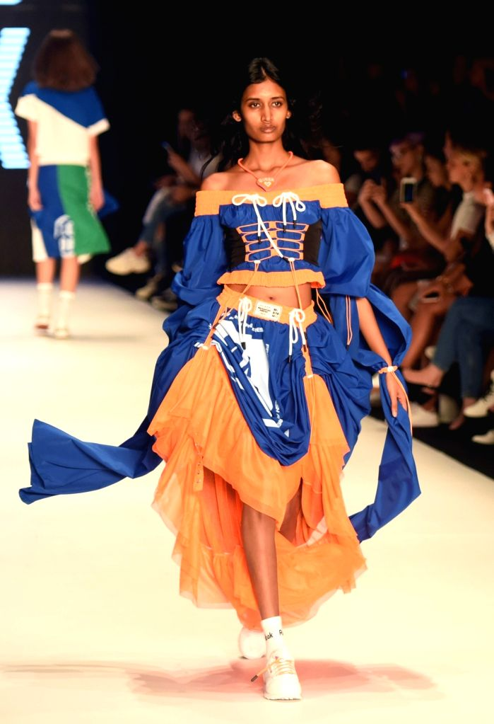 ISTANBUL, Sept. 11, 2018 - A model presents a creation from the DB Berdan 2019 Spring/Summer collection during the Mercedes-Benz Fashion Week in Istanbul, Turkey, on Sept. 11, 2018.