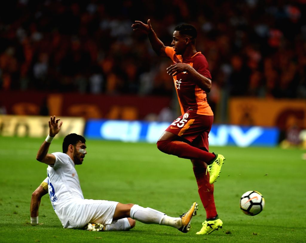ISTANBUL, Sept. 17, 2017 - Galatasaray player Fernando Reges (R) vies with Veysel Sari of Kasimpasa during the Turkish Super League match between Galatasaray and Kasimpasa in Istanbul, Turkey, on ...
