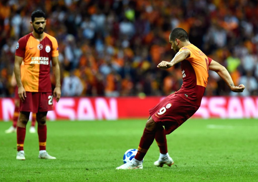 ISTANBUL, Sept. 19, 2018 - Eren Derdiyok (R) of Galatasaray scores during the 2018-2019 UEFA Champions League Group D match between Turkey's Galatasaray and Russia's Lokomotiv Moscow in Istanbul, ...