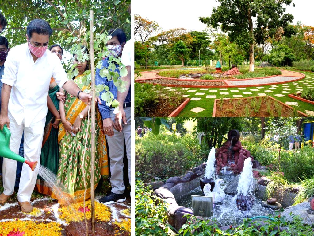 IT Minister KT Rama Rao Inaugurated  Panchatatva Park with a walkway based on the concept of Acupressure, on November 15, 2020. - K and Rao Inaugurated