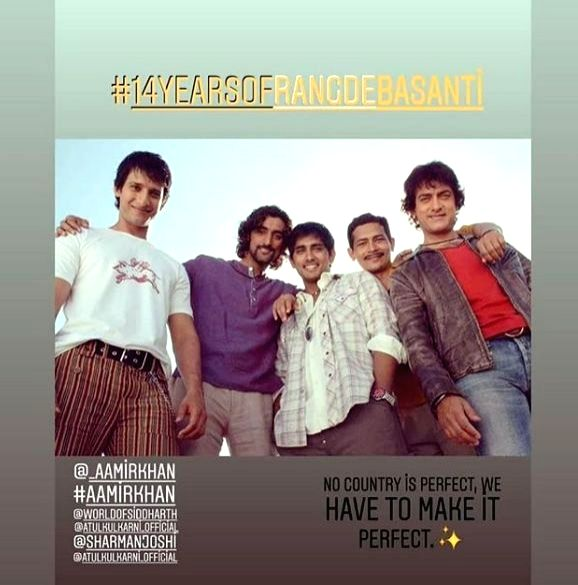 """It's been 14 years since Rakeysh Omprakash Mehra's patriotic film """"Rang De Basanti' released, and it is still remembered by everyoneespecially for its excellent storyline, songs, dialogues ... - Sharman Joshi"""