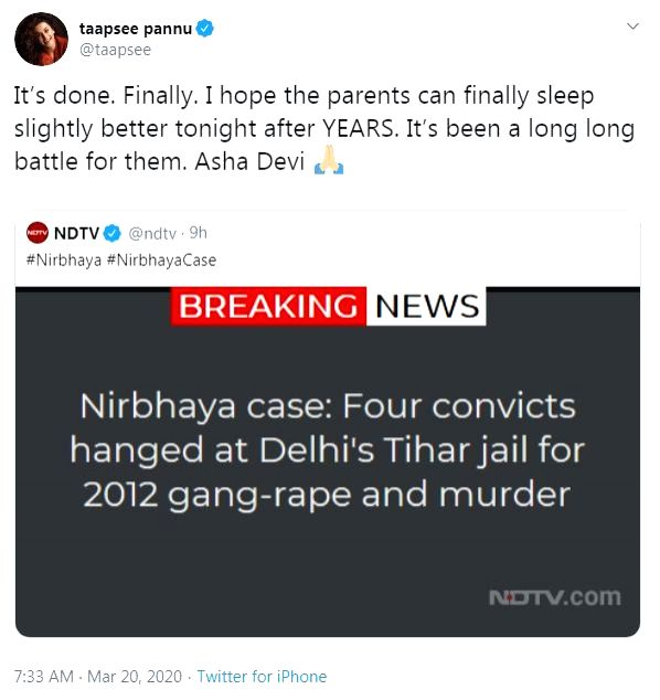 """""""It's done. Finally. I hope the parents can finally sleep slightly better tonight after YEARS. It's been a long long battle for them. Asha Devi,"""" Taapsee Pannu tweeted."""