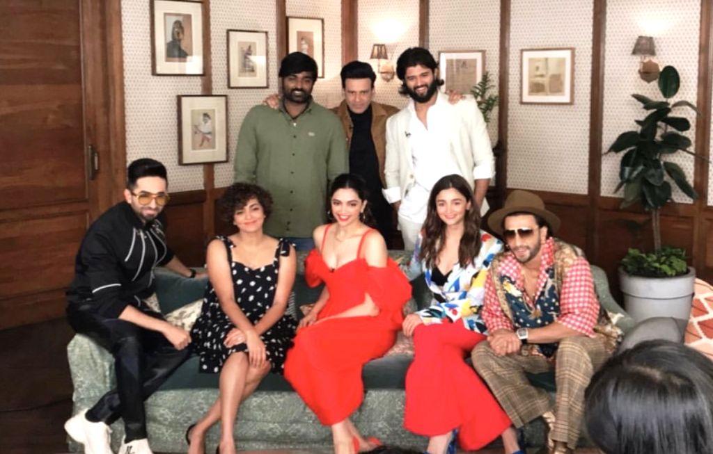 It was a million dollar moment when Deepika Padukone, Ranveer Singh, Alia Bhatt, Ayushmann Khurrana, and Manoj Bajpayee, along with south superstars Vijay Sethupathi, Vijay Deverakonda and Parvathy ... - Deepika Padukone, Ranveer Singh and Manoj Bajpayee