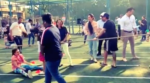 """It was actress Soha Ali Khan's first sport day as a parent and she got a """"little carried"""" while playing tug-of-war at her daughter Inaaya Naumi Kemmu's school. Soha on Friday took to Twitter where she shared a video of herself from Inaaya's sports da - Soha Ali Khan"""