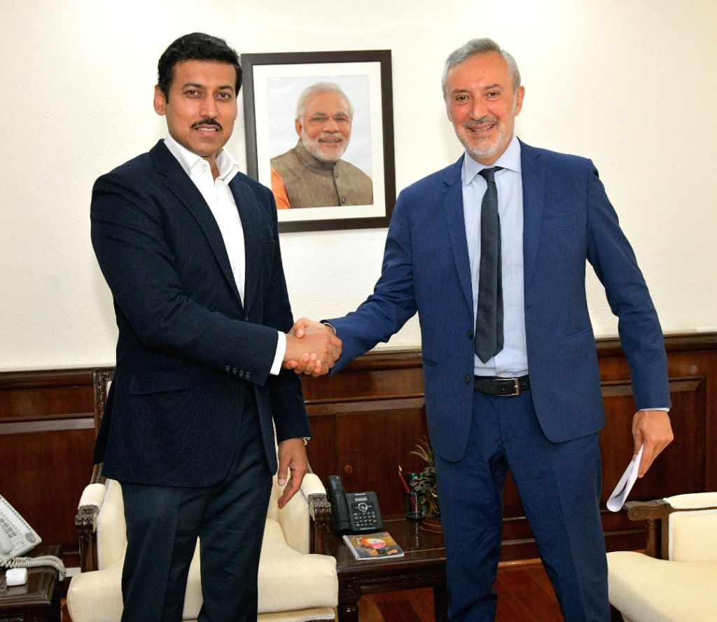Italian Ambassador to India, Lorenzo Angeloni calls on Union Sports and Information and Broadcasting Minister Rajyavardhan Singh Rathore, in New Delhi on July 9, 2018. - Rajyavardhan Singh Rathore